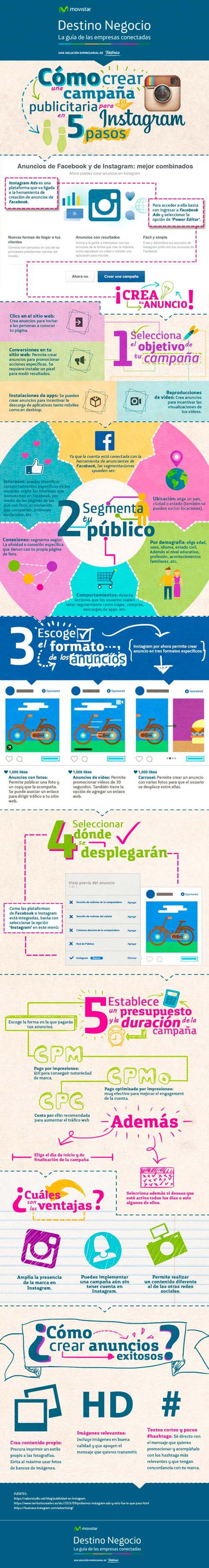 pasos crear campaña publicitaria instagram infografia
